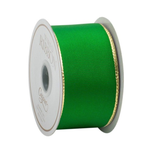 Green & Thin Gold Edge Ribbon