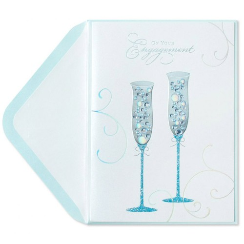 Happy Engagement Handmade Card Champagne Flutes by WHITE COTTON CARDS B121
