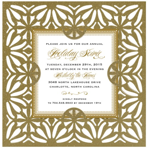 Gold Diecut Glitter Square Invitation